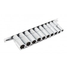 Deep socket set 10pcs, 3/8'', 6 point, (8,10,12-19mm), on bar