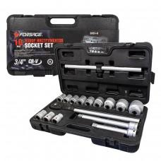 Tool set 16pcs 3/4'', 12 point (17,19,21,24,27,30,32,33,36,38,41,46,50mm)