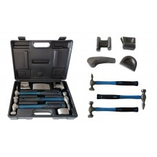Auto body panel repair tool kit: straightening hammers with mandrels set 7pcs, in a case