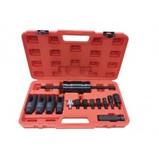 Diesel injector extractor set with slide hammer, sockets and threaded adapters (nozzle sockets: 25mm