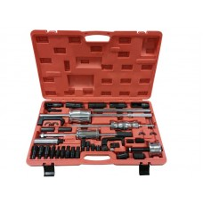 Diesel injector extractor set with slide hammers, sockets and threaded adapters (nozzle sockets: 25,