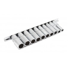 Deep socket set 3/8''10pcs 12 point (8,10,12-19mm), on bar