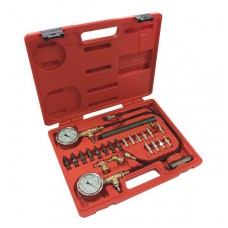Brake pressure test kit with adapters, in a case