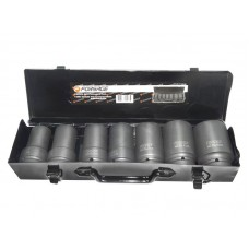 Deep impact socket set, 7pcs, 1'', 6 point (24,27,30,32,36,41,46mm), in a metal case