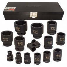 Impact socket set 6 point, 15pcs, 1/2''(10,12,13,14,15,16,17,18,19,21,22,24,27,30,32mm), in a metal