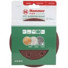 90245 Шлиф. круг самосцепл. Hammer Flex 214-013 Д150мм 6отв. Р 40, набор 5 шт