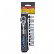 Socket set with ratchet and extension 13pcs 1/4''(4-13mm, 6 point), in plastic holder