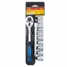 Socket set with ratchet and extension 13pcs 3/8''(8-19mm, 6 point), in plastic holder