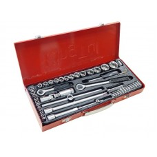 Tool set 52pcs 1/4'', 1/2'', 6 point, 4-30mm, in a metal case
