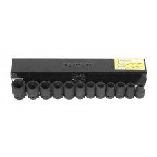 Impact socket set 12 pcs, 1/2''(10, 12-19, 21, 22, 24mm), in a metal case