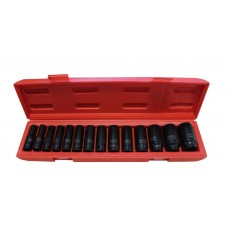 Deep impact socket set 14 pcs, 1/2''(11-15, 17-19, 21, 22, 24, 27, 30, 32mm), in a metal case