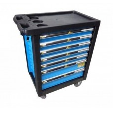 Service tool cabinet with tools 7 drawers (black) with plastic housing protection + perforation (900