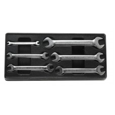 Double open end wrench set 6 pcs (6х7, 10х11, 12х13, 14х15, 16х17, 20х22mm), in tray