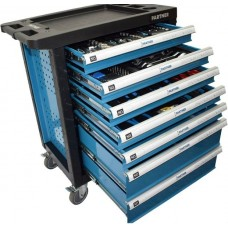 Service tool cabinet with tools 7 drawers (blue) completed with tools 220pcs with plastic housing pr
