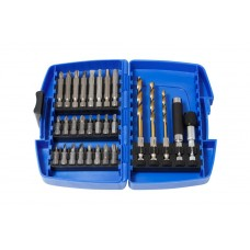 Set of bits and drills with bit holders, 29pcs, in a plastic case