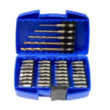 Set of bits and drills 37pcs, in a plastic case