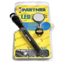 LED telescopic flashlight with magnet (3 LED + mirror)