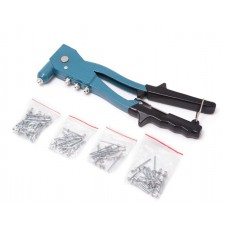 Hand mechanical riveter with rivet set (L-260mm, rivet - 2.4, 3.2, 4.0, 4.8), in plastic case
