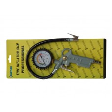 Gun for tire inflating with pressure gauge