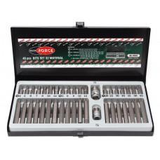 Set of bits with bit holder 40pcs 10mm (75/30mm: T20-T55, H4-H12, M5-M12), in a metal case