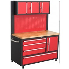 Mobile metal workbench 600х1080х1215mm (three-folding case: 230x375x1060mm, perforation: 900x1060mm,