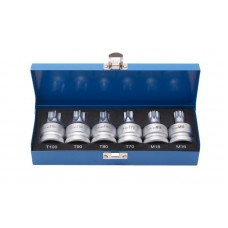 Torx, Spline socket set, with hole 3/4''6pcs (T70, T80, T90, T100, m16, m18), in a case