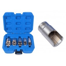 Slotted socket set 3/8''5pcs (12, 14, 17, 19, 22mm), in a case