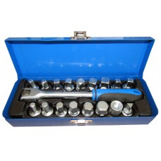 Drain sump plug key socket set 3/8'', 18pcs (socket 6 point: 8,9,10,12,14,17mm socket 4 point: 7,8,10