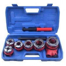Pipe die stock with replaceable screw dies 9pcs (1/4'', 3/8'', 1/2'', 3/4'',1'', 1 1/4''), in a case