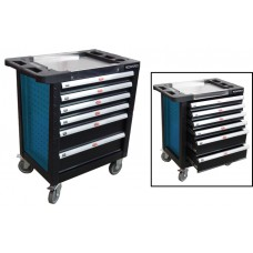 Service tool cabinet with tools 6 drawers (blue) with plastic housing protection and metal cover+ 2