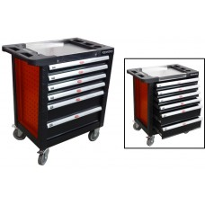 Service tool cabinet with tools 6 drawers (red) with plastic housing protection and metal cover+ 2 s