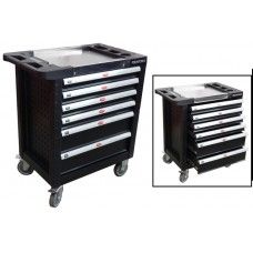 Service tool cabinet with tools 6 drawers (black) with plastic housing protection and metal cover+ 2