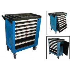 Service tool cabinet with tools 7 drawers (blue) with additional side section, 600х840х980 (drawers: