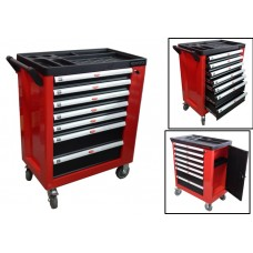 Service tool cabinet with tools 7 drawers (red) with additional side section, 600х840х980 (drawers:
