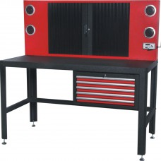 Metal workbench with perforation and hanging box ''Profi'': 760x1560x1570mm, perforation with roller s