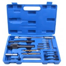 Glow plugs extraction tool kit and thread repair set, in a case