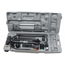 Hydraulic body frame repair kit 10T, 15pcs (pump, jack + extension set), in a case on wheels