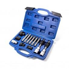 Set for alternator pulley removal 13pcs (1/2''bits: M10, T50х110mm, 10mm, bits: M8, M10, Н8, Н10, T4
