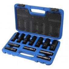 Deep impact socket set 12pcs, 1/2'', 6 point (10, 12-19, 21, 22, 24 mm), in a case