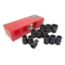 Impact socket set 6 point, 12pcs, 1/2''(10,12,13,14,15,16,17,18,19,21,22,24mm), in a metal case