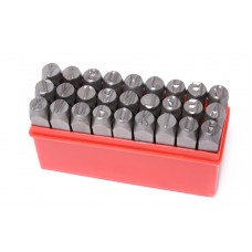 Letter punch stamp set 4mm, 27pcs, in a plastic case