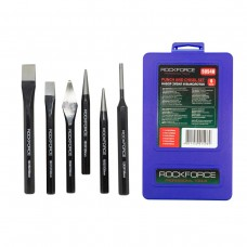 Punch and chisel set 6pcs (punch: 15х150, 12х130, 5х130mm, chisels: 4х120, 5х150mm, center punch:120