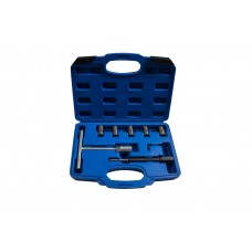 Diesel injector seat cleaner set 7pcs (size of cutters: 17x21, 17x19, 15x19, 17x17mm), in a case