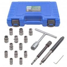 Diesel injector seat cleaner set 17pcs (14х14, 15.5х15.5, 17х17, 15х19, 17х17.5, 17x19, 17х19.5, 17х