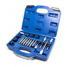 Set for alternator pulley removal 18pcs (1/2'': M10х140, M10х110, T50х110mm, 3/8'': M10х90mm, 10mm: M1