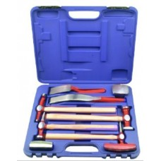 Auto body panel repair tool kit 9pcs, in a case