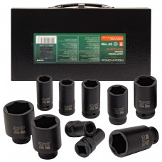 Impact socket set 10pcs, 3/4''(17,19,22,24,27,30,32,36,41,46), in a metal case