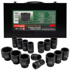 Impact socket set 15pcs 1'', 6 point (22,24,27,30,32,33,34,36,38,40,41,46,50,55,60), in a metal case