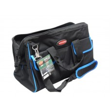 Closed MAXI tool bag (500x250x320 mm, 16 pockets, fabric handle + shoulder strap)
