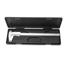 Stainless steel vernier caliper (0-150mm, 0.02mm, inner Ø, outer Ø + depth gauge), in a plastic case